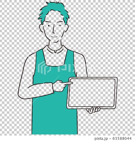 手描き1color エプロンを着た男性 タブレットで紹介 63588044