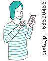 手描き1color カジュアルな男性 スマホ操作 笑顔 63590456