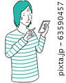 手描き1color カジュアルな男性 スマホ操作 困る 63590457
