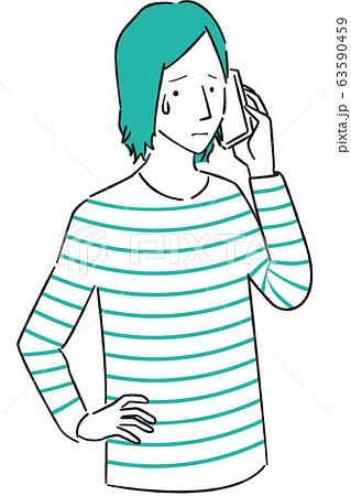 手描き1color カジュアルな男性 通話で困る 63590459