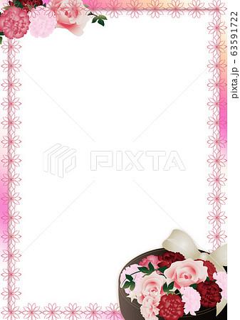 母の日カーネーションの花フラワーボックスのイラストピンクと花柄ライン縦スタイル背景素材 63591722