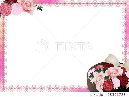 母の日カーネーションの花フラワーボックスのイラストピンクと花柄ライン横スタイル背景素材 63591723