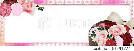 母の日カーネーションの花フラワーボックスのイラストピンクと花柄ラインバナー素材 63591724