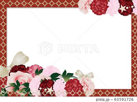 母の日カーネーションの花ととリボンアートのイラストレッドとゴールドライン横スタイル背景素材 63591726