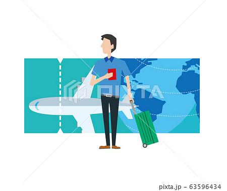 旅行 飛行機 チケット 海外旅行 空港 男性 63596434