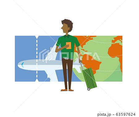 旅行 飛行機 チケット 海外旅行 空港 男性 63597624