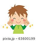 清潔な手に笑顔を見せる小さな男の子 63600199