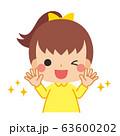 清潔な手に笑顔を見せる小さな女の子 63600202