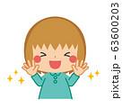 清潔な手に笑顔を見せる小さな女の子 63600203