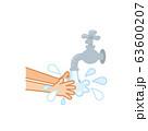 水道水で手を洗うシンプルな図 63600207