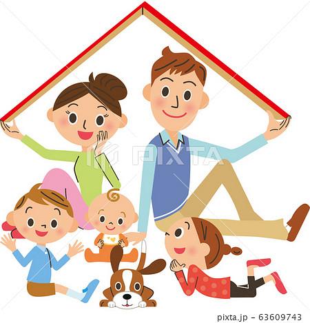 家の屋根を持つ家族 63609743