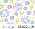 アジサイ等の水彩のポップな和柄 63622119