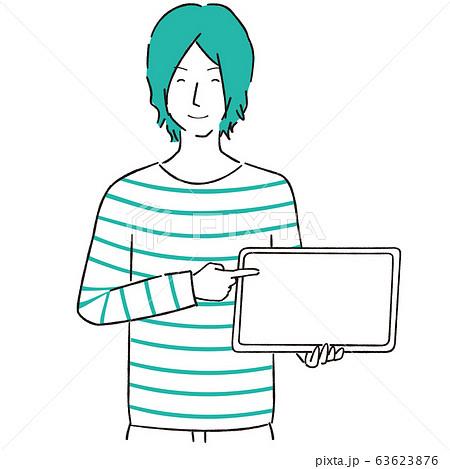 手描き1color カジュアルな男性 タブレット端末 解説 63623876