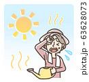 水やり中 熱中症 日射病 おばあさん 長袖 63628073