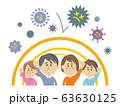ウイルス・バイ菌に強い家族のイラストイメージ 63630125
