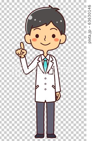 의사 닥터 젊은 남성 전신 가리키며 63630146