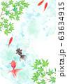 金魚と新緑のモミジで構成した夏のイメージ背景、水彩イラスト 63634915