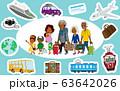 旅行する家族 乗り物アイコンセット アフリカ人 63642026