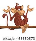 Cartoon monkey chimpanzee sitting on the tree 63650573