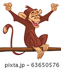 Cartoon monkey chimpanzee. Vector illustration of happy monkey character 63650576