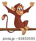 Cartoon monkey chimpanzee sitting on the tree 63650593