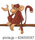 Cartoon monkey. Vector happy chimpanzee Illustration 63650597