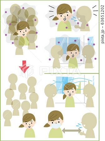 新型コロナウイルス集団感染セット 63651202