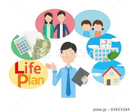 ライフプラン 人生設計 お金 学費 家族 結婚 マイホーム 家 計算 63653384