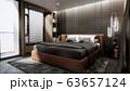 interior of modern luxury bedroom with double bed, 3D rendering 63657124