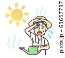 水やり中 熱中症 日射病 男性 半袖 63657737