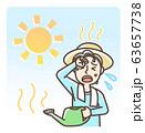 水やり中 熱中症 日射病 男性 長袖 背景アリ 63657738