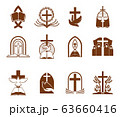 Cristian religion cross, bible and god dove icons 63660416