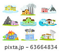Houses Undergoing Natural Disasters Like Fire and Tornado Vector Set 63664834