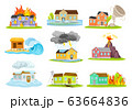Houses Undergoing Natural Disasters Like Fire and Tornado Vector Set 63664836