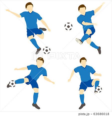 サッカーをする男性シンプルセット01 63686018