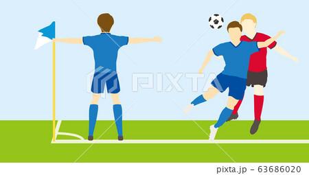 サッカーをする男性シンプルセット03 63686020