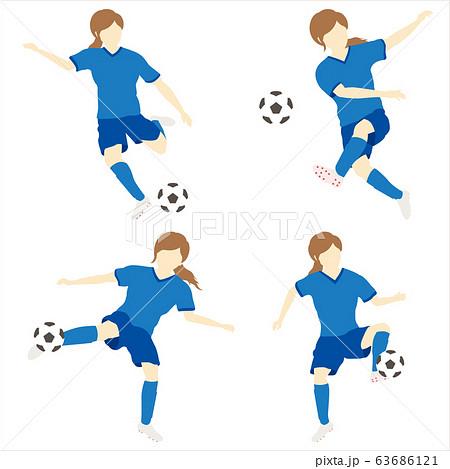 サッカーをする女性シンプルセット01 63686121