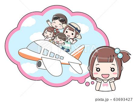 旅行を楽しみにしている女の子 63693427