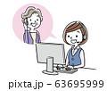 イラスト素材: コールセンター、オペレーターの女性と会話するシニア女性 63695999