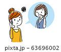 イラスト素材: コールセンター、オペレーターの女性と会話する女性 63696002