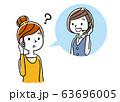 イラスト素材: コールセンター、オペレーターの女性と会話する女性 63696005