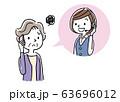 イラスト素材: コールセンター、オペレーターの女性と会話するシニア女性 63696012