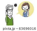 イラスト素材: コールセンター、オペレーターの女性と会話するシニア男性 63696016