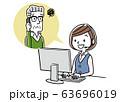 イラスト素材: コールセンター、オペレーターの女性と会話するシニア男性 63696019