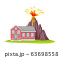 Volcano Eruption Near Residential House Isolated on White Background Vector Illustration 63698558