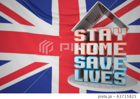 Portable computer and STAY HOME SAVE LIVES inscription with flag of the UK as a background. British COVID-19 outbreak self-isolation. 3D rendering 63715825