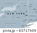 New York State (NYS), gray political map, with capital Albany, borders and important cities. State in Northeastern United States of America. English labeling. Illustration on white background. Vector. 63717409
