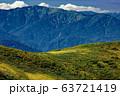 巻機山・牛ヶ岳稜線から見る割引岳への登山道を行くハイカー 63721419