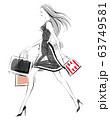 ショッピングを楽しむ女性 ブラック 63749581