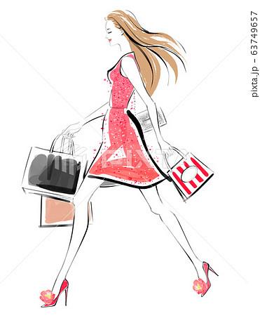 ショッピングを楽しむ女性 レッド 63749657